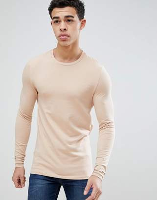 Asos DESIGN Muscle Fit Long Sleeve T-Shirt With Crew Neck