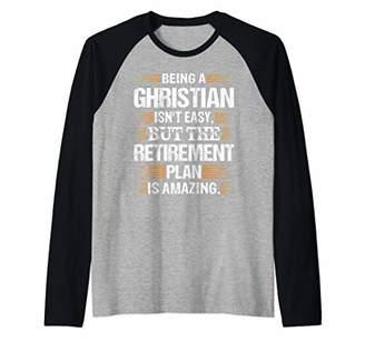 Church's Funny Christian - Amazing Retirement Plan Raglan Baseball Tee