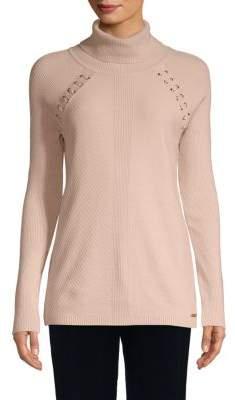 Calvin Klein Lace-Up Turtleneck Sweater