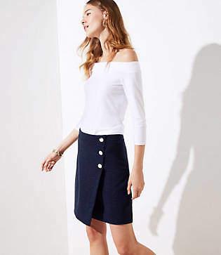 LOFT Button Wrap Skirt
