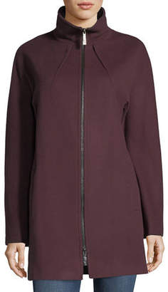 Sofia Cashmere Funnel-Neck Zip-Front Coat