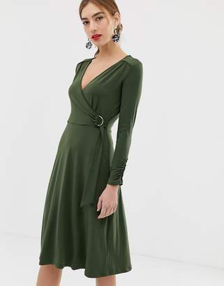 Oasis wrap dress with ring detail in khaki