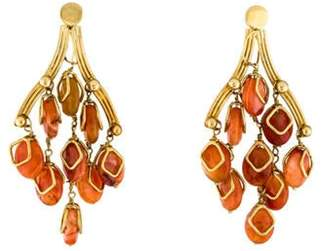 18K Carnelian & Agate Chandelier Earrings yellow 18K Carnelian & Agate Chandelier Earrings