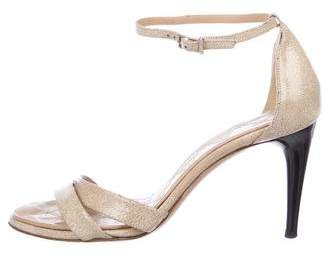 Chanel Textured Patent Leather CC Sandals