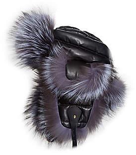 The Fur Salon Women's Fox Fur & Leather Trapper Hat