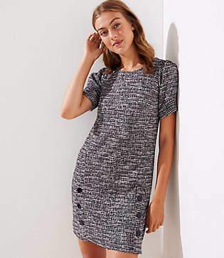 LOFT Petite Tweed Buttoned Shift Dress