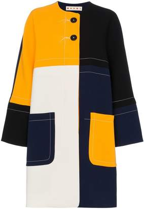Marni Multicoloured cocoon patchwork coat
