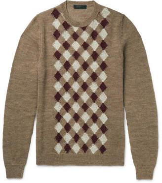 Prada Argyle Alpaca And Wool-Blend Sweater