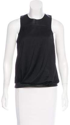 Helmut Lang Leather-Accented Satin Top