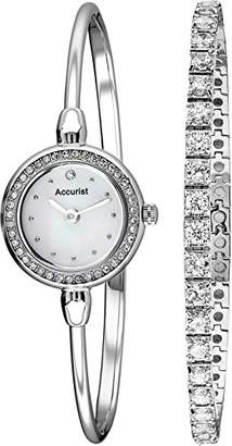 Accurist Women's Quartz Watch with Mother of Pearl Dial Analogue Display and Silver Bangle LB1573.01