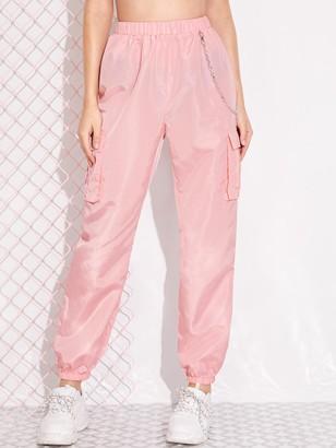 Shein Chain Detail Flap Pocket Cargo Pants