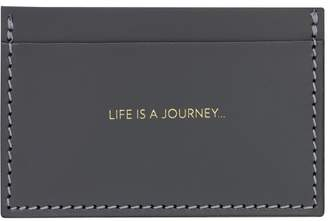Amanda Wakeley Life Is A Journey Charcoal Leather Card Holder