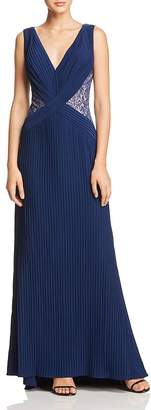 Tadashi Shoji Lace-Inset Pleated Gown