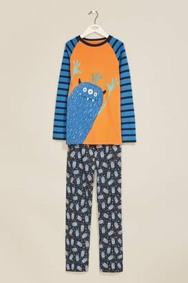 Next Boys FatFace Blue Freddie Monster Pyjama Set