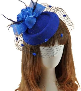 b879c42a6f9 Kapmore Fascinator Hats Fancy Pillbox Hat Veil Flower Feather Cocktail Hat