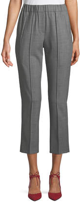 Michael Kors Tropical Stretch-Wool Straight-Leg Cropped Pull-On Pants