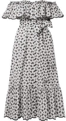 Lisa Marie Fernandez Mira Off-the-shoulder Broderie Anglaise Cotton Midi Dress - White