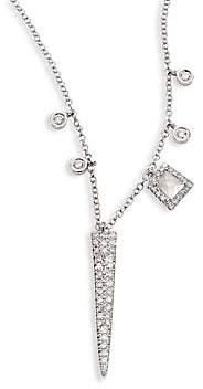 Meira T Women's Dagger Diamond, White Topaz & 14K White Gold Pendant Necklace