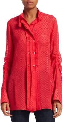 Carven Silk Sheer Button Front Shirt