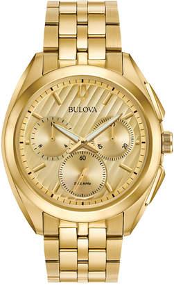 Bulova Men's Chronograph Curv Gold-Tone Stainless Steel Bracelet Watch 45mm 97A125
