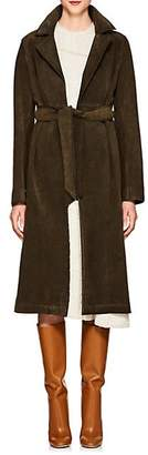 Barneys New York Women's Suede High-Waisted Trench Coat - Olive