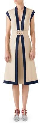 Gucci Contrast Trim Belted Dress