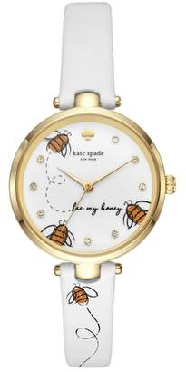 Kate Spade New York Holland Bee Leather Strap Watch, 34mm