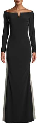 Xscape Evenings Off-The-Shoulder Contrast Panel Gown