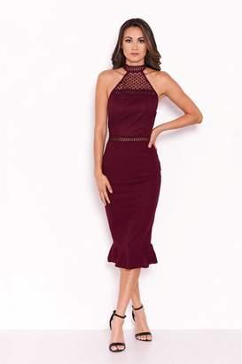 AX Paris Womens Crochet Top Frill Hem Dress - Red