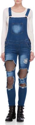 V.I.P. Jeans Distressed Mesh Accent Denim Overalls