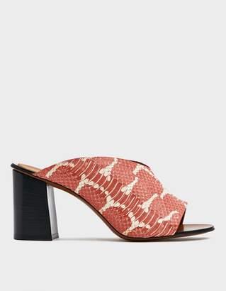 Atelier Atp Licola Embossed Leather Heel in Orange/White