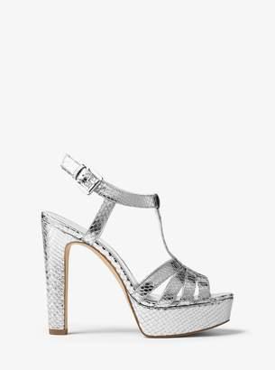 MICHAEL Michael Kors Catalina Metallic Embossed-Leather Sandal