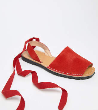 Park Lane Wide Fit Suede Tie Leg Flat Sandals