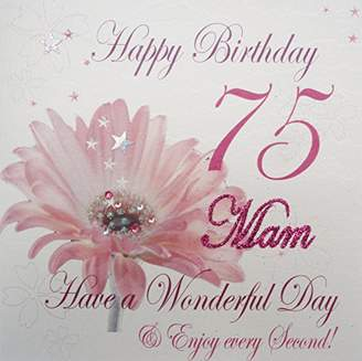 DAY Birger et Mikkelsen WHITE COTTON CARDS wba75-mam Pink Gerbra, Happy Birthday 75 Mam Have a Wonderful Handmade 75th Birthday Card, White