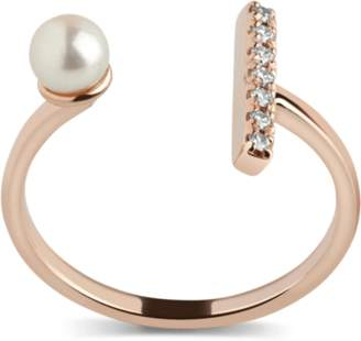 Aurate Open Pearl Ring with White Diamonds