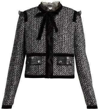 Giambattista Valli Ruffle Trimmed Tweed Jacket - Womens - Grey