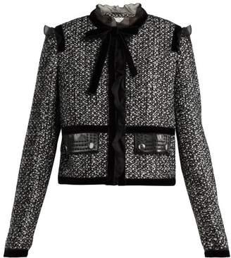 Giambattista Valli - Ruffle Trimmed Tweed Jacket - Womens - Black