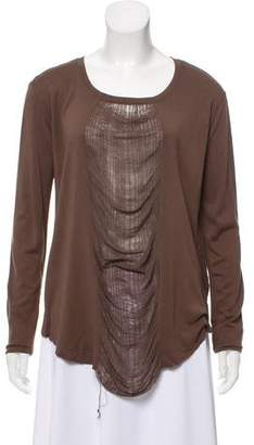 Raquel Allegra Distressed Long Sleeve Top