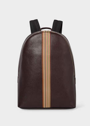Paul Smith Men's Dark Burgundy Leather Signature Stripe Backpack