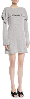 See by Chloe Long-Sleeve Crewneck Heathered Alpaca-Blend Mini Dress w/ Ruffled Trim