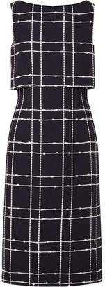 Oscar de la Renta Checked Cotton-blend Bouclé Midi Dress - Navy