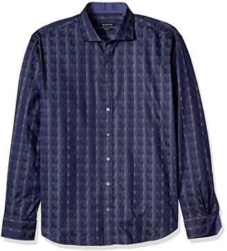 Bugatchi Men's Jacquard Cotton Shaped Fit Spread Collar Sport Shirt