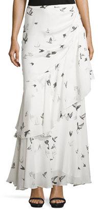 Haute Hippie Cascading-Ruffle Maxi Skirt, Swan/Multi $595 thestylecure.com