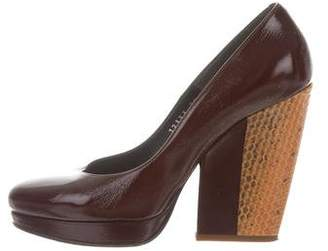 Dries Van Noten Snakeskin-Accented Pointed-Toe Pumps