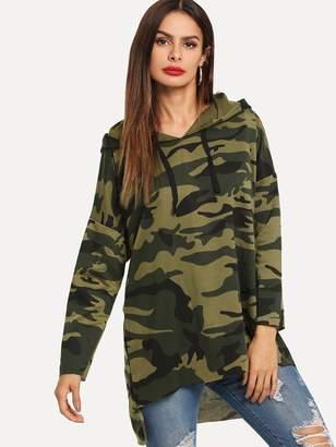 Shein Asymmetrical Hem Hooded Camo Sweatshirt