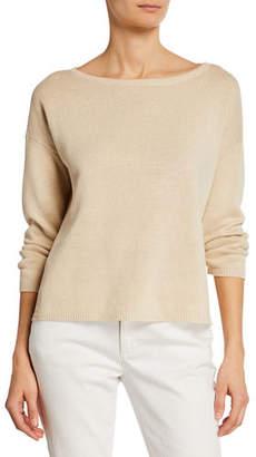 Eileen Fisher Boat-Neck Bracelet-Sleeve Organic Linen/Cotton Sweater