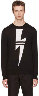 Neil Barrett Black Double Stripe Thunderbolt Sweater
