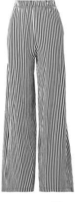 MDS Stripes - Pia Striped Cotton-jersey Wide-leg Pants - Black