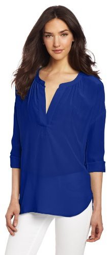 Vince Camuto Two by Women's Mixed Media Button Front Shirt