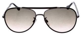 Balenciaga Leather-Trimmed Aviator Sunglasses